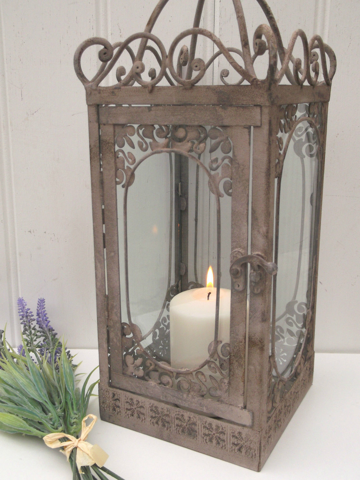 Vintage Style French Grey Large Lantern Candle Holder Rustic Shabby Chic Garden Amazing Grace