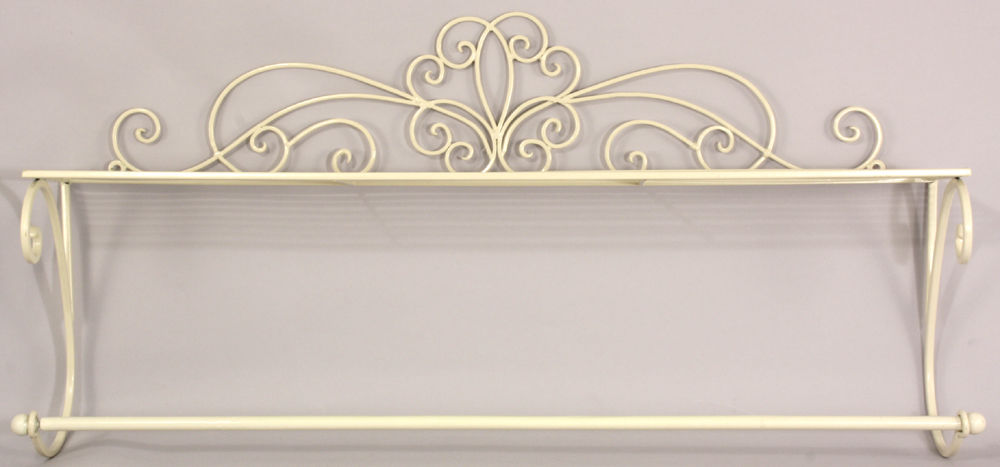 Antique French Vintage Style Cream Wall Mounted Towel Rail Bathroom Shelf Unit Amazing Grace