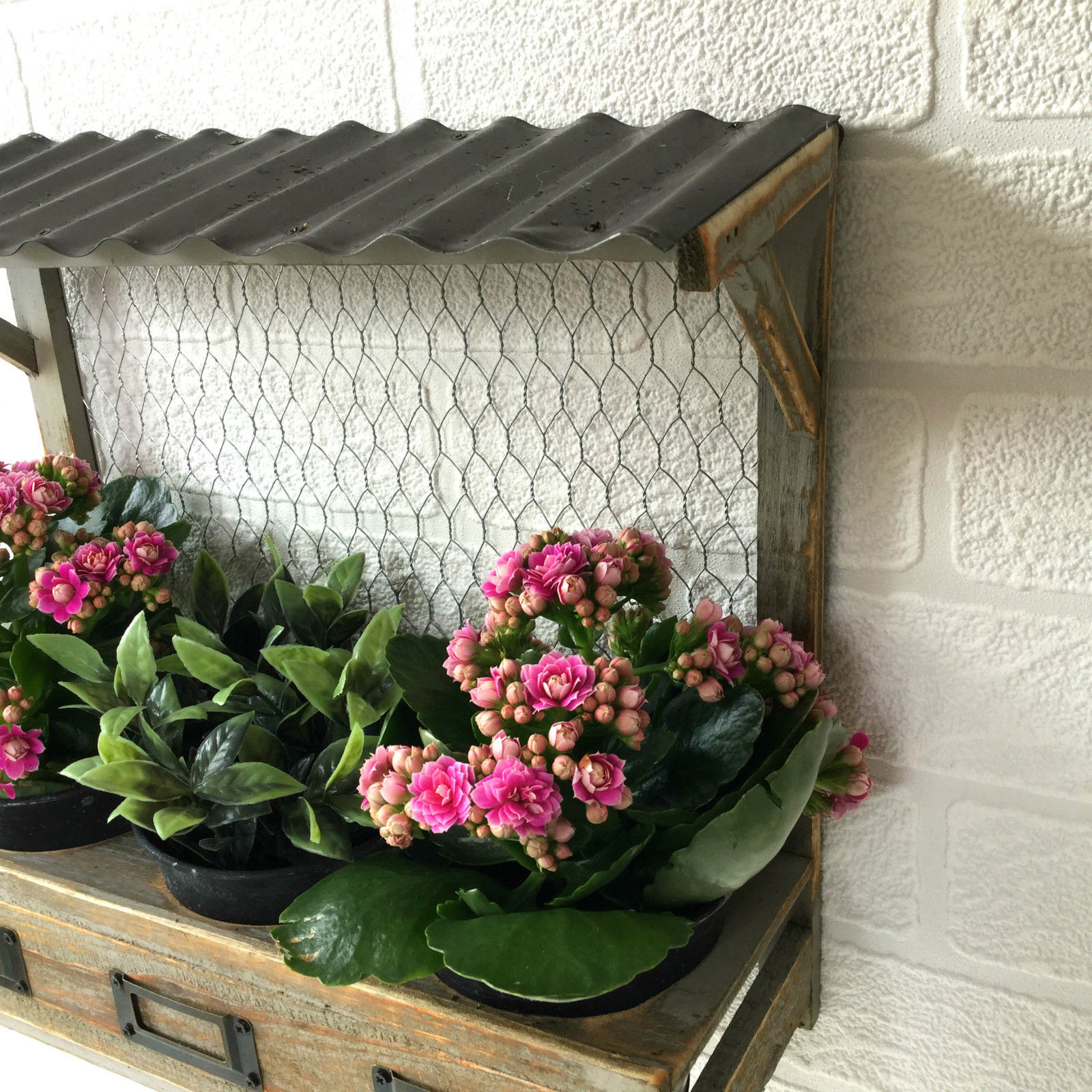 Kitchen Garden Box With Wire Top: Vintage Syle Shabby Chic Window Box Wall Planter Pots