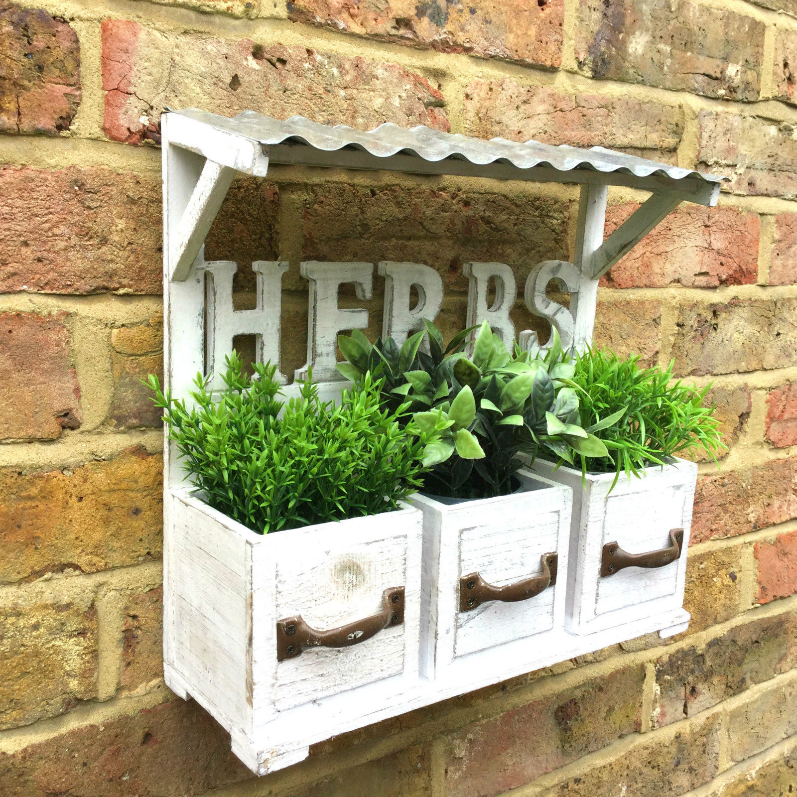 Kitchen Window Herb Planter: Shabby Chic Vintage Style Wooden Wall Garden Planter Pots