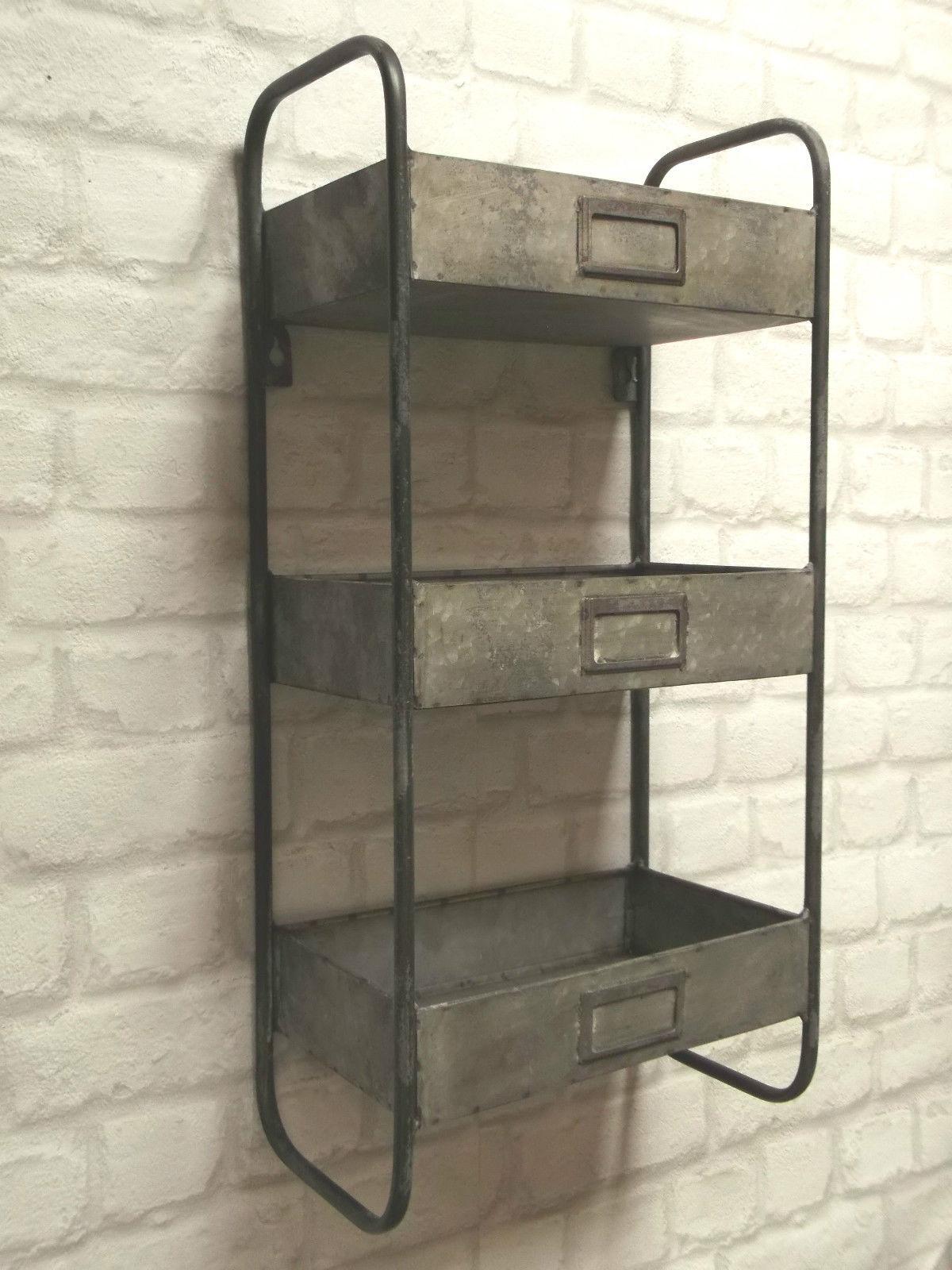 Home Interiors Ebay Vintage Industrial Style Metal Wall Shelf Unit Storage