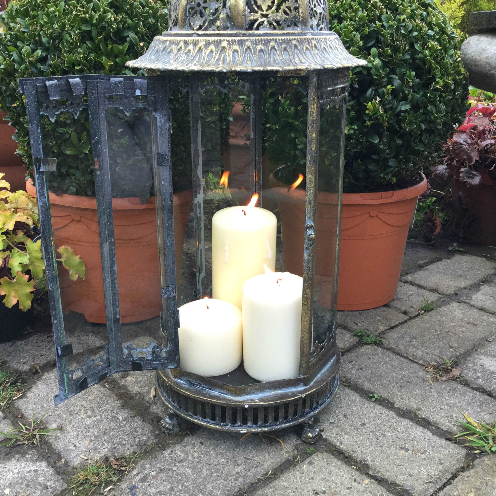 Extra Large Metal Garden Lantern Candle Holder Antique