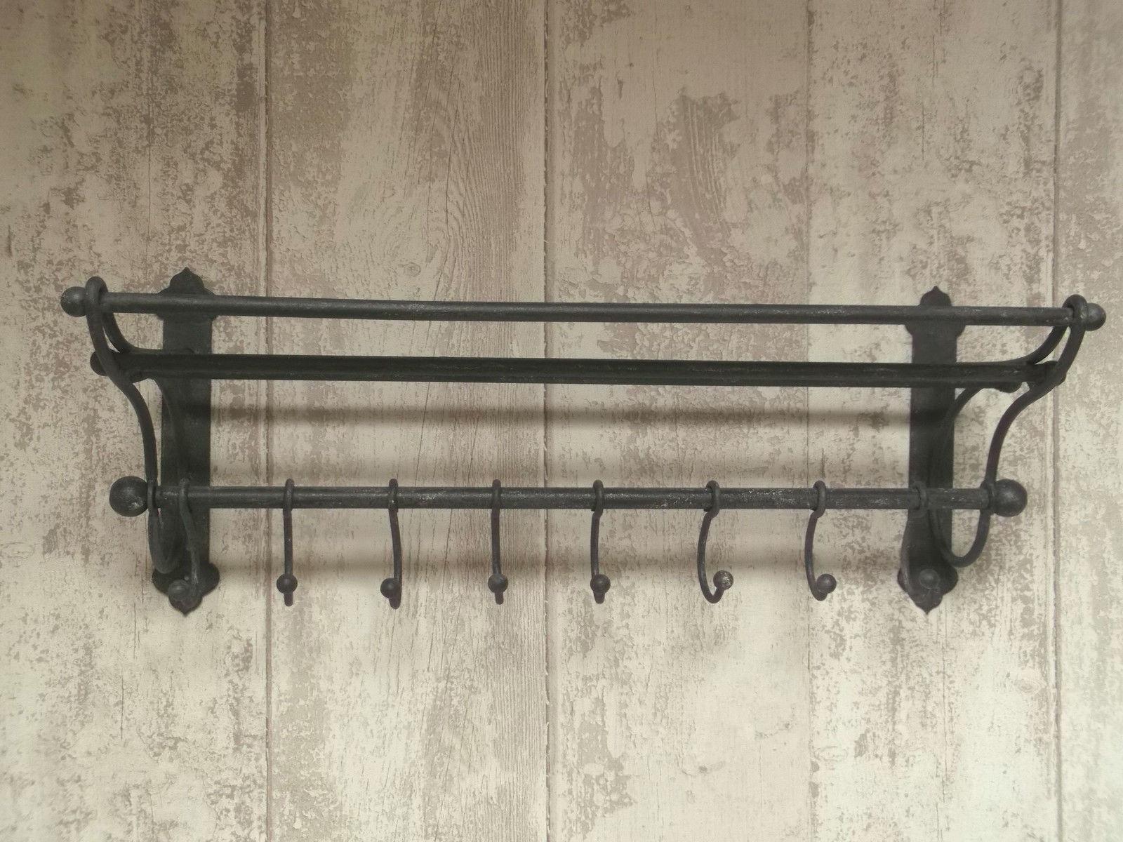 Antique Vintage Style Wall Mounted Coat Hooks Rack Shelf Storage Unit Hat  Rack