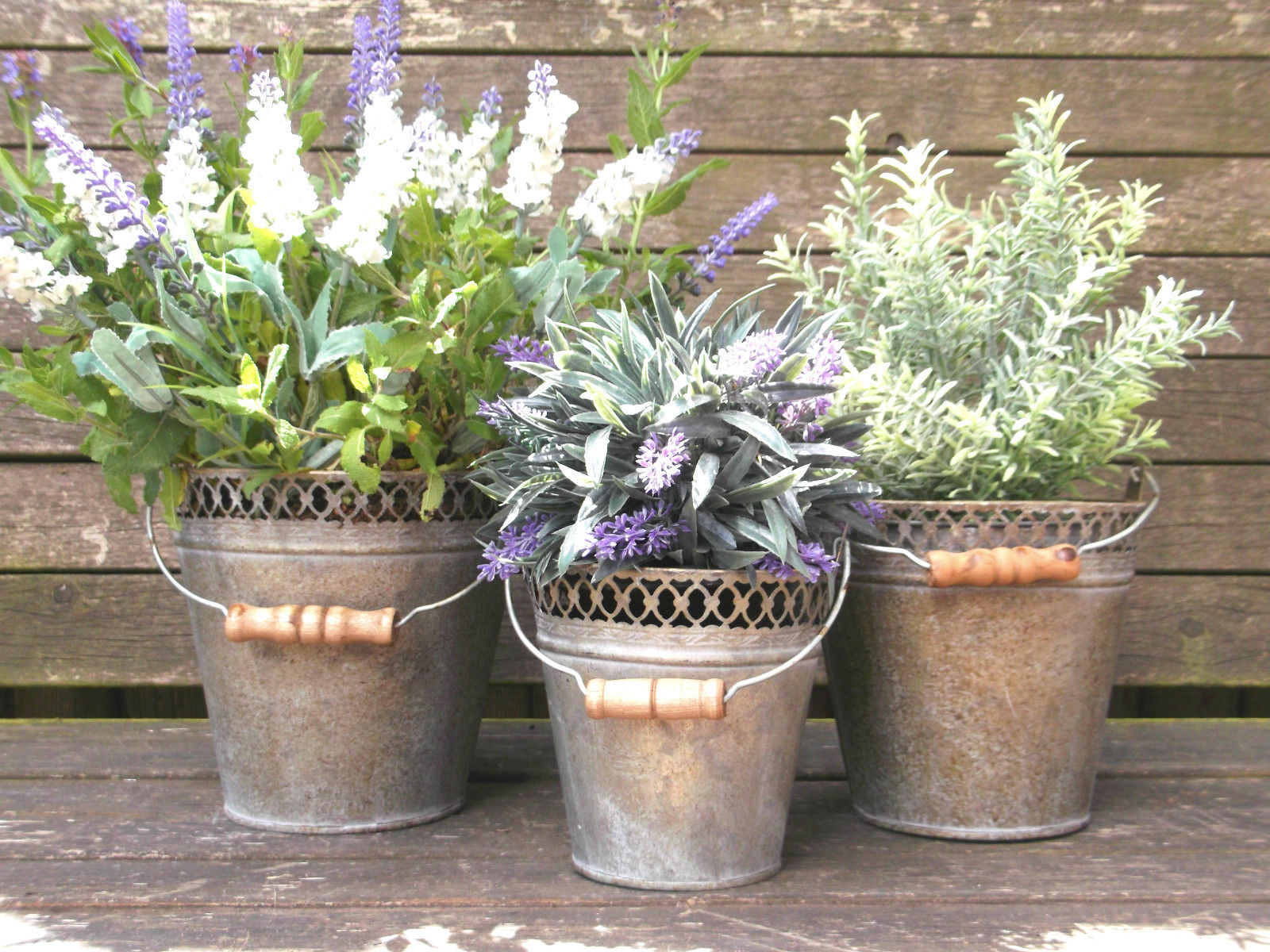 antique french vintage style set of 3 metal garden