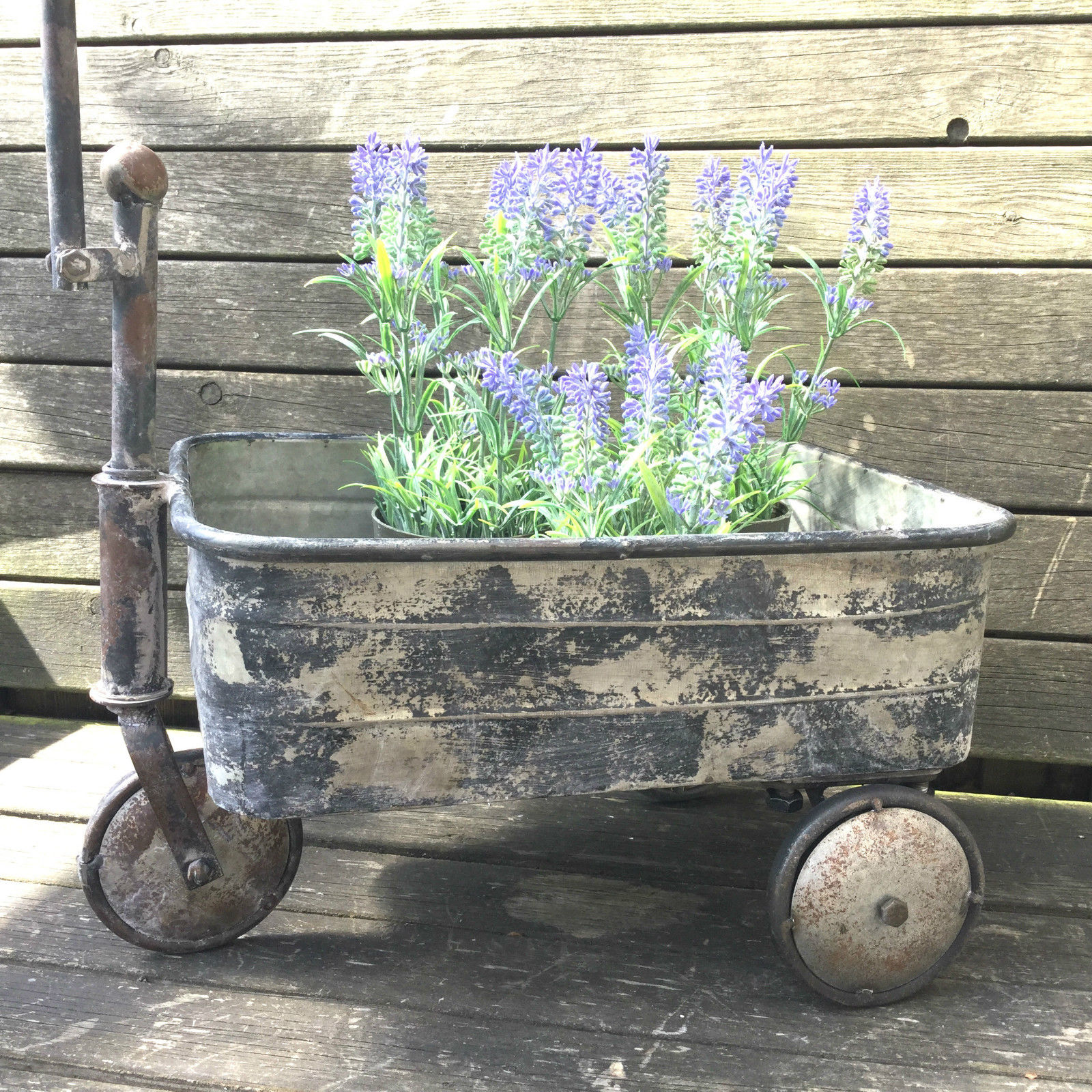 Antique Vintage Style Metal Garden Cart Trolley Plant