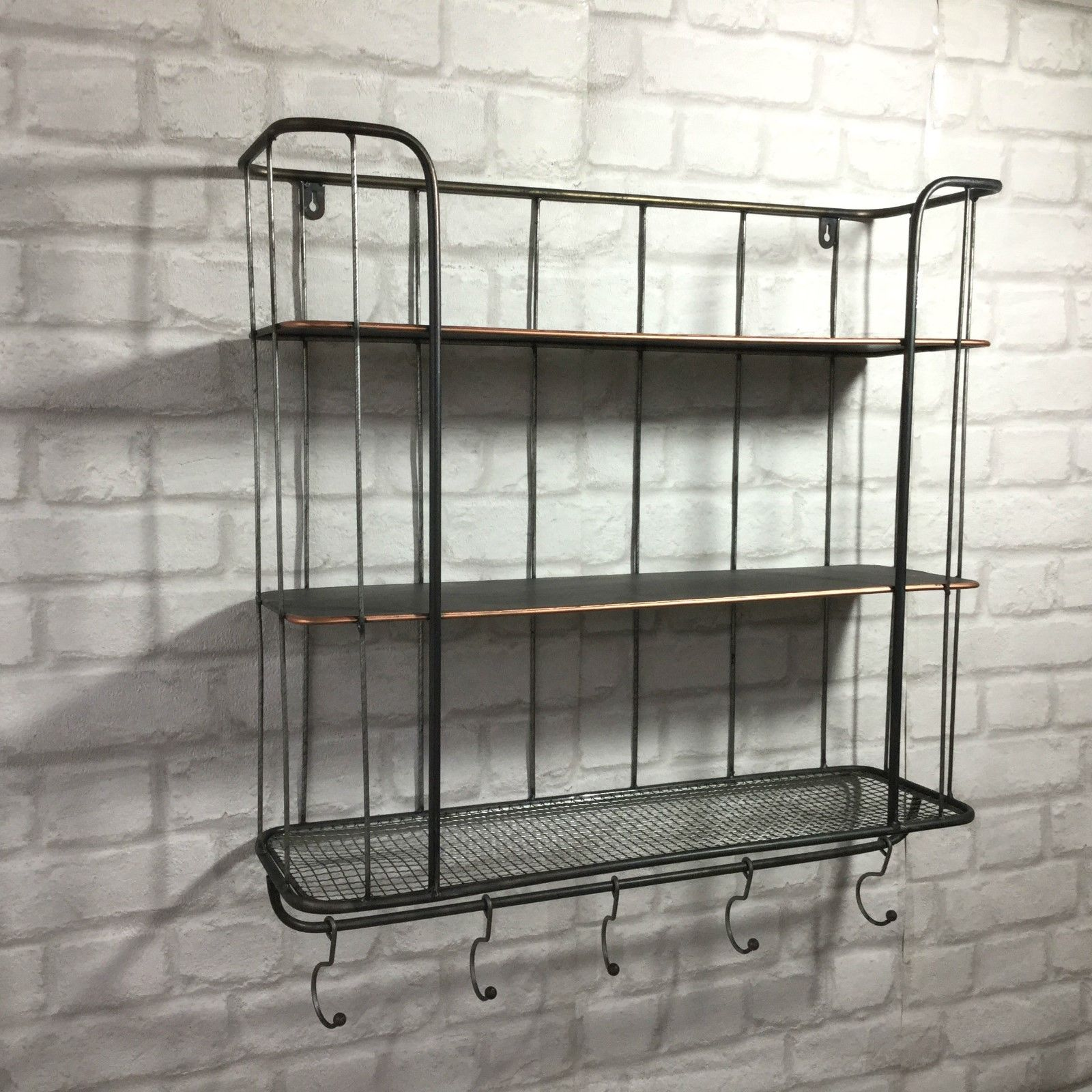 Vintage Industrial Style Metal Wall Shelf Unit Rack Coat
