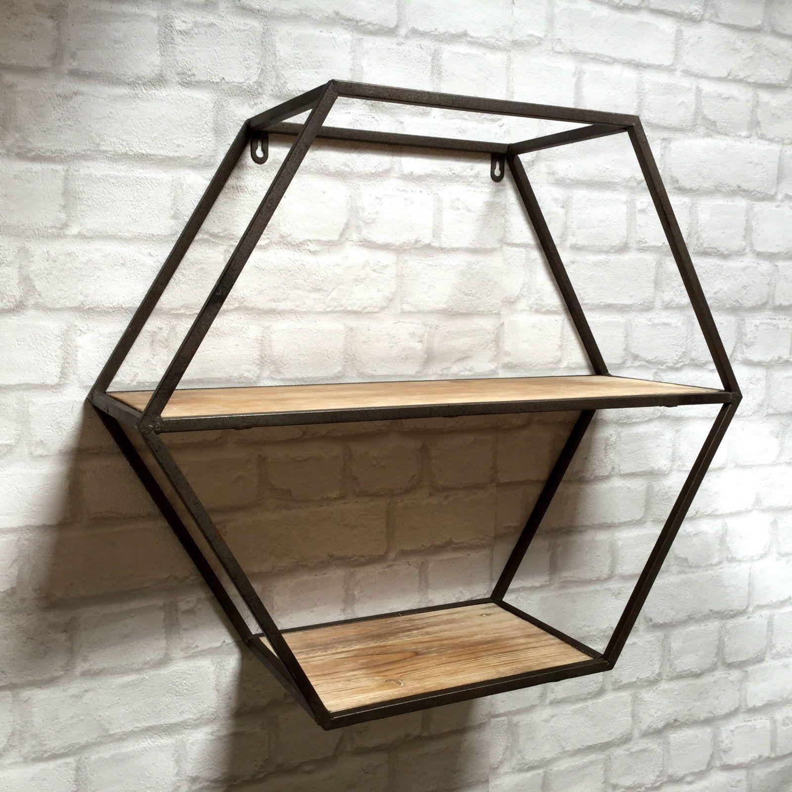 Industrial Metal Kitchen Shelves: Vintage Industrial Style Metal Wall Shelf Unit Storage