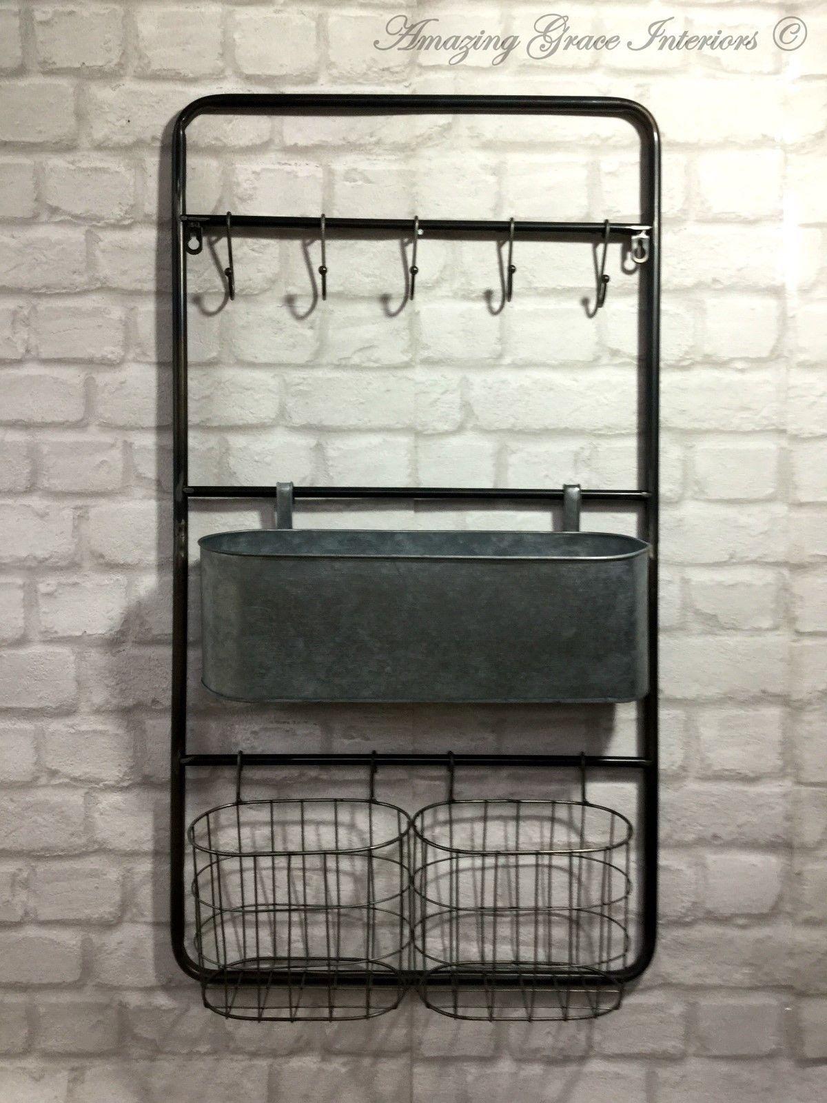 vintage industrial style metal wall shelf unit rack hooks storage unit baskets amazing grace. Black Bedroom Furniture Sets. Home Design Ideas